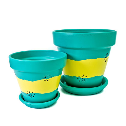Green and Yellow Plant Pot