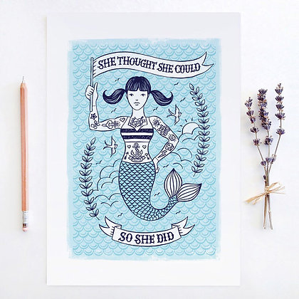 Tattoo Mermaid Print