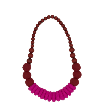 Merino and Wood Necklace - Red
