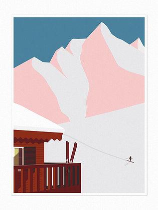 Chalet & Mountains Print