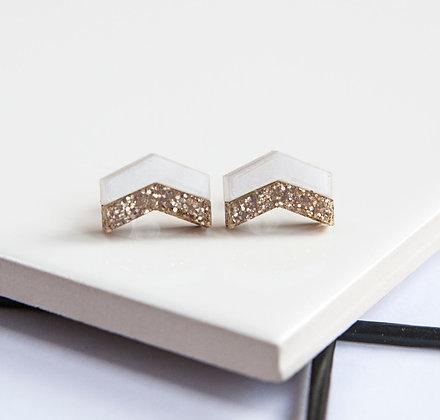 White Glitter Chevron Stud Earrings