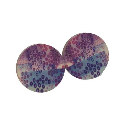 Geometric Wooden Earrings - Blue and Purple