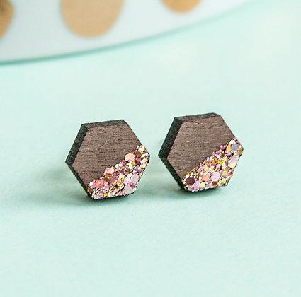 Rose Glitter Wooden Stud Earrings