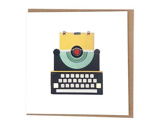 Yellow Typewriter Card