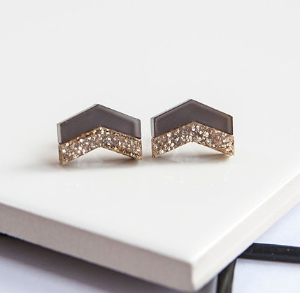 Grey Glitter Chevron Stud Earrings
