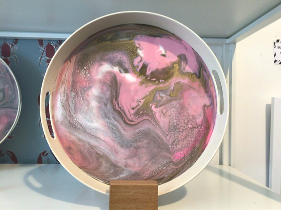 Resin Tray - Pink, White and Gold
