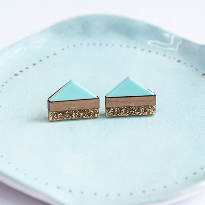 Mint Glitter Point Stud Earrings