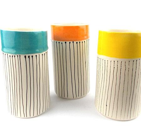 Striped Cylinder Vase