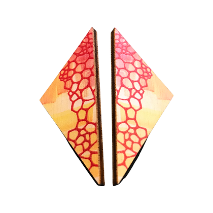 Geometric Wooden Kite Earrings - Red and Yellow