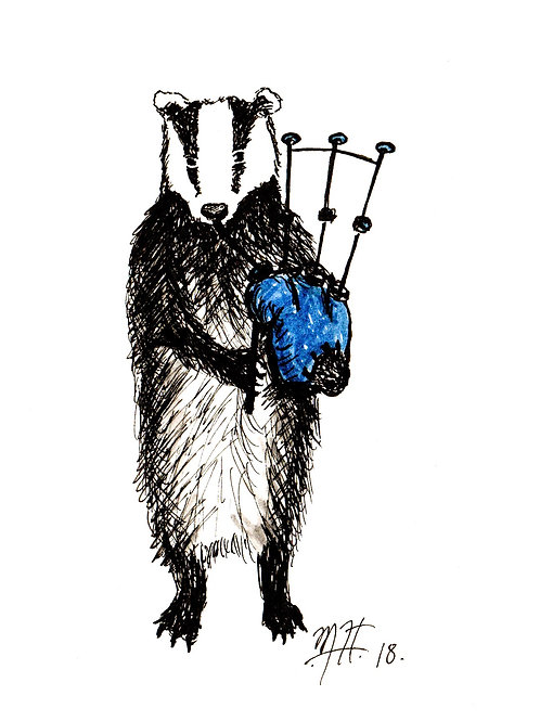 Badger with Bagpipes Print