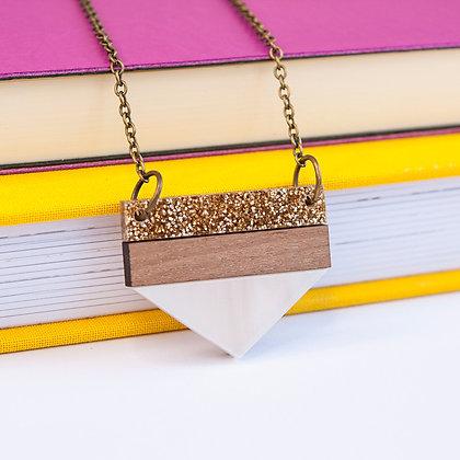 White Glitter Point Necklace