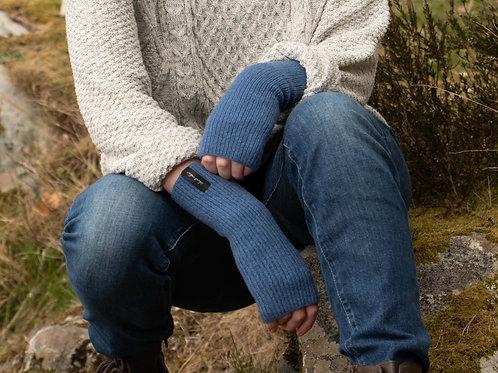 Denim Blue Ribbed Woollen Wristwarmers