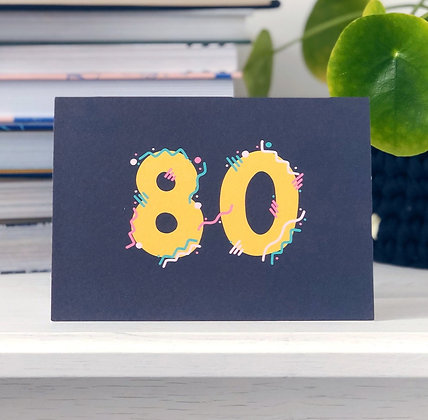80th Birthday Card xoxo designs