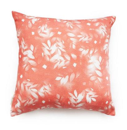 Coral & White Leaf Cushion