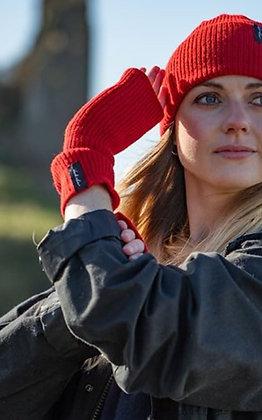 Red ribbed woollen wristwarmers