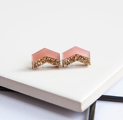 Pink Glitter Chevron Stud Earrings