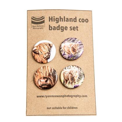 Highland Cow Badge Set