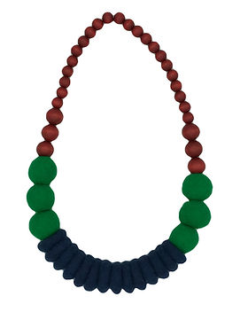 Merino and Wood Necklace - Green, Blue and Red