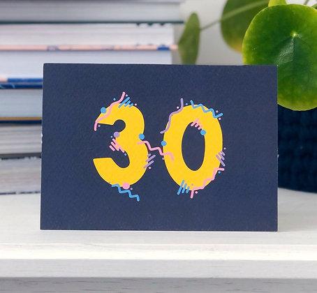 30th Birthday Card xoxo designs