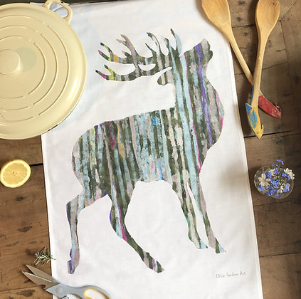Single Stag Tea Towel