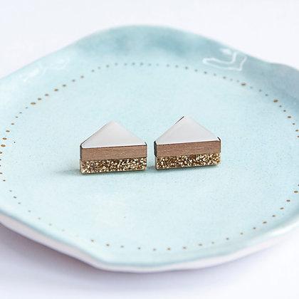 White Glitter Point Stud Earrings