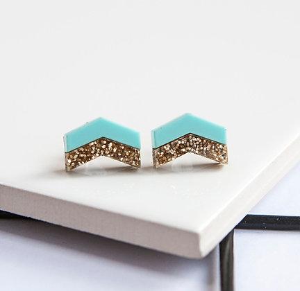Turquoise Glitter Chevron Stud Earrings