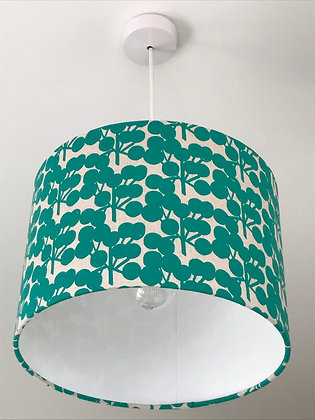 Teal Blossom Drum Lampshade