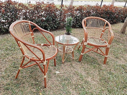 New Brown Rattan Chairs & Small Rattan Coffee Table Set