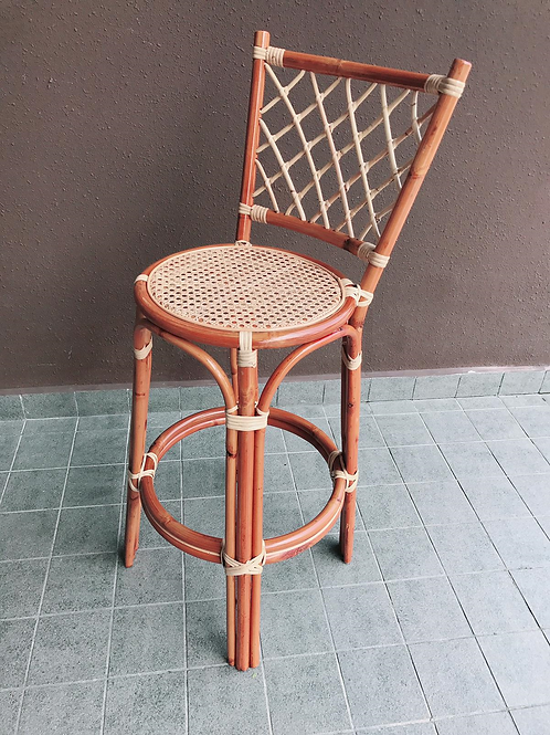 Brown rattan bar stool with white oak (Back Order)
