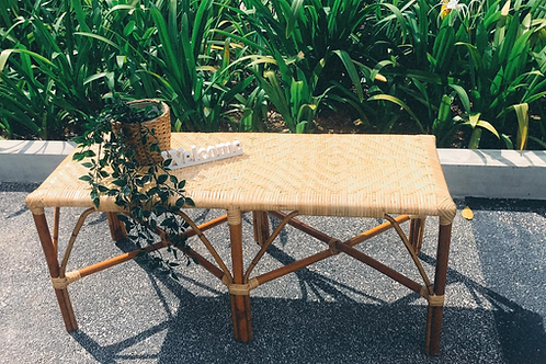 Brown Rattan Bench With ZigZag White Oak New Arrival