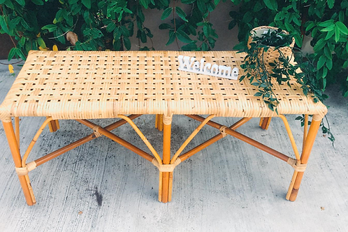 Brown Rattan Bench With Checker White Oak New Arrival (Left 2pcs)