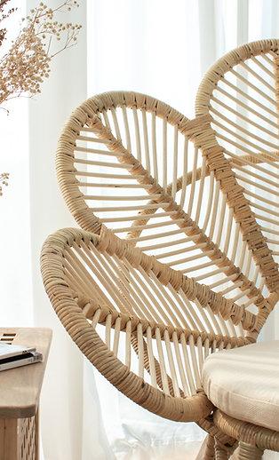 Natural White Rattan Leaf Chair (Backorder)