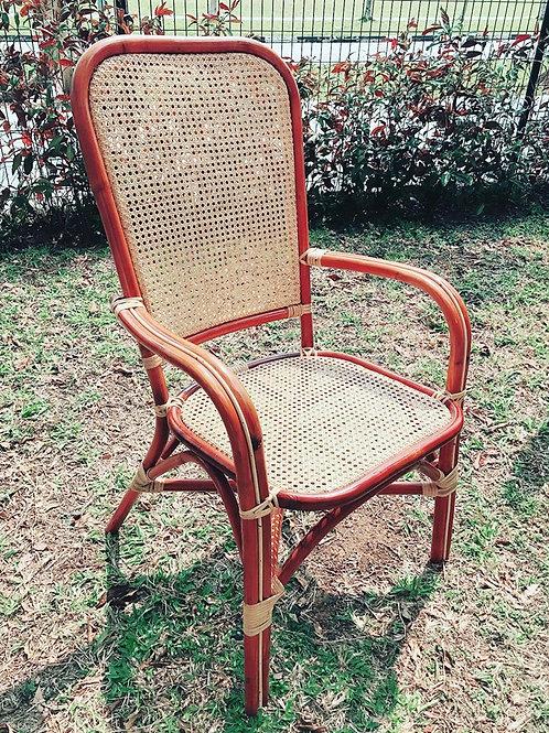 Brown rattan webbing chair with white oak