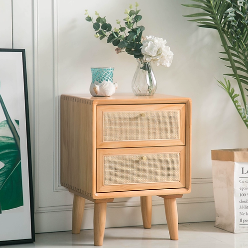 Raffles Side Table Cabinet With Hand Woven Rattan