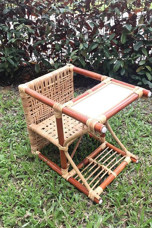 Brown rattan with white oak stool