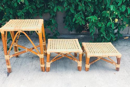 Medium brown stool with white oak webbing (New Arrival)