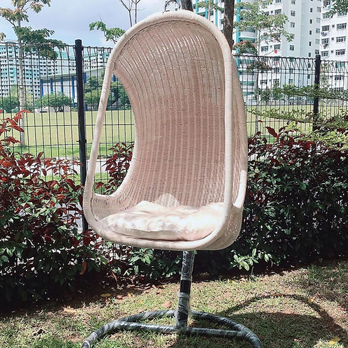 White Wash Rattan Swing With Cushion