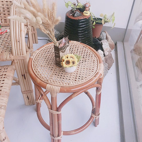Unique Brown Rattan With White Oak Webbing Stool