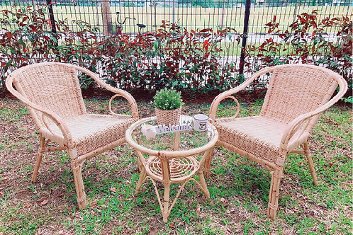 New Set  2Italy Wicker Chairs & Small Rattan Coffee Table *Backorder*