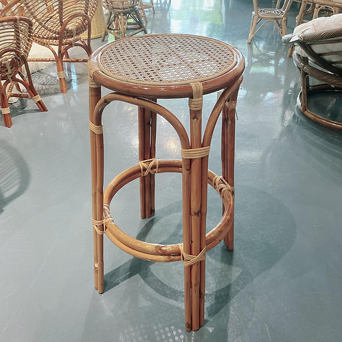 Brown rattan bar stool without backing *Backorder*