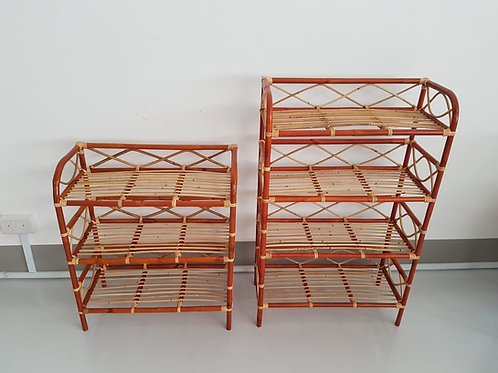 Brown Rattan Four Layer Multi-Purpose Shoes Rack