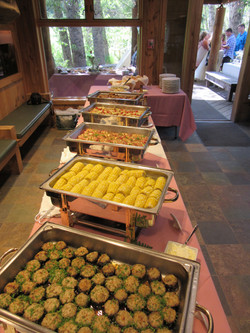 Wedding buffet ready for guests