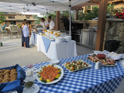 Pool party with appetizers in the foreground