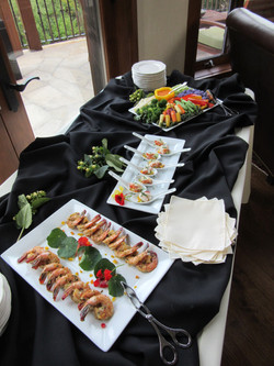 Lobster salad bites, tapa shrimp, crudités