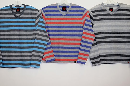 L/S V-Neck Knit Striped Shirt  108LS-A