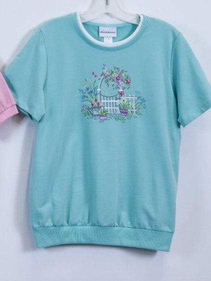 Embroidered Alfred Dunner Short Sleeve Top 8183-8283