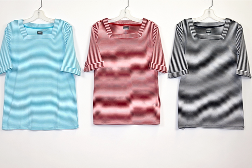 Striped Square Neck Knit Top 245501-ST