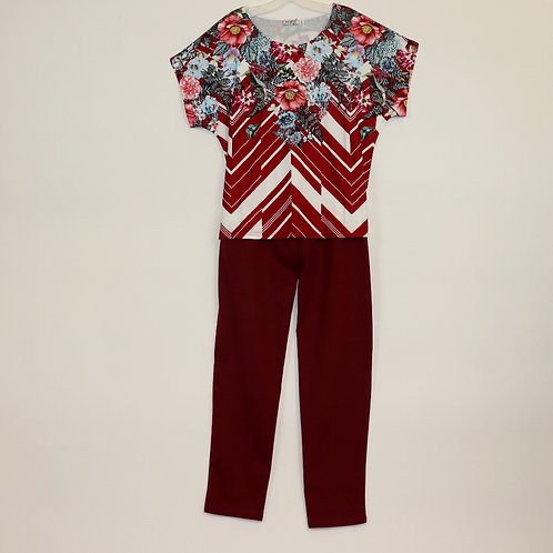 One Piece Burgundy Jumpsuit JS806A