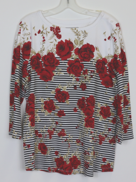 3/4 Sleeve Print Top CT36373