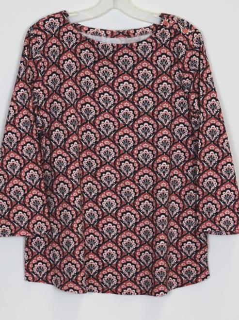 3/4 Sleeve Print Top   CR29541